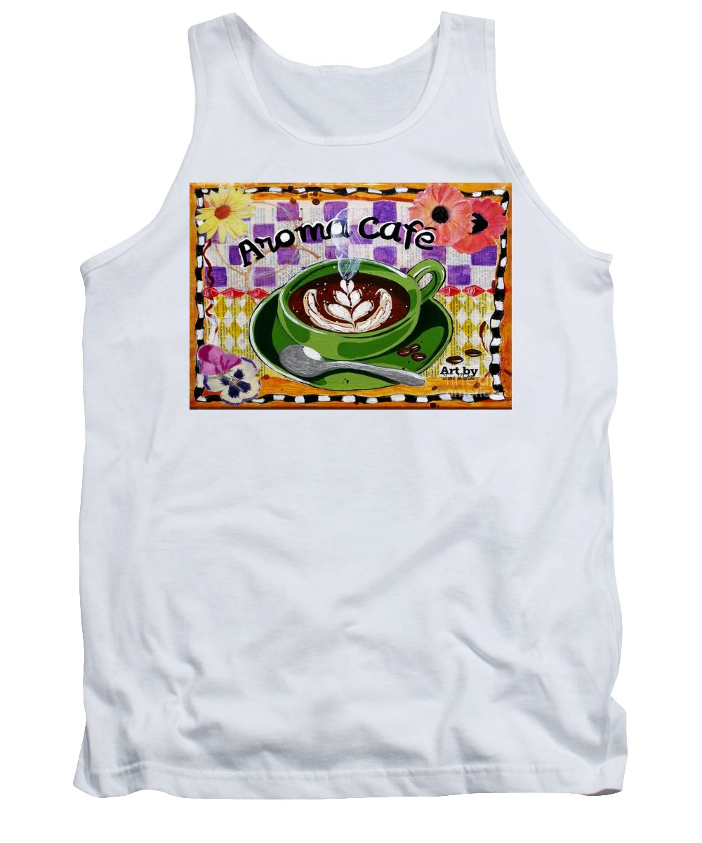 Froth Tank Top featuring the mixed media Aroma Cafe by Tami Dalton