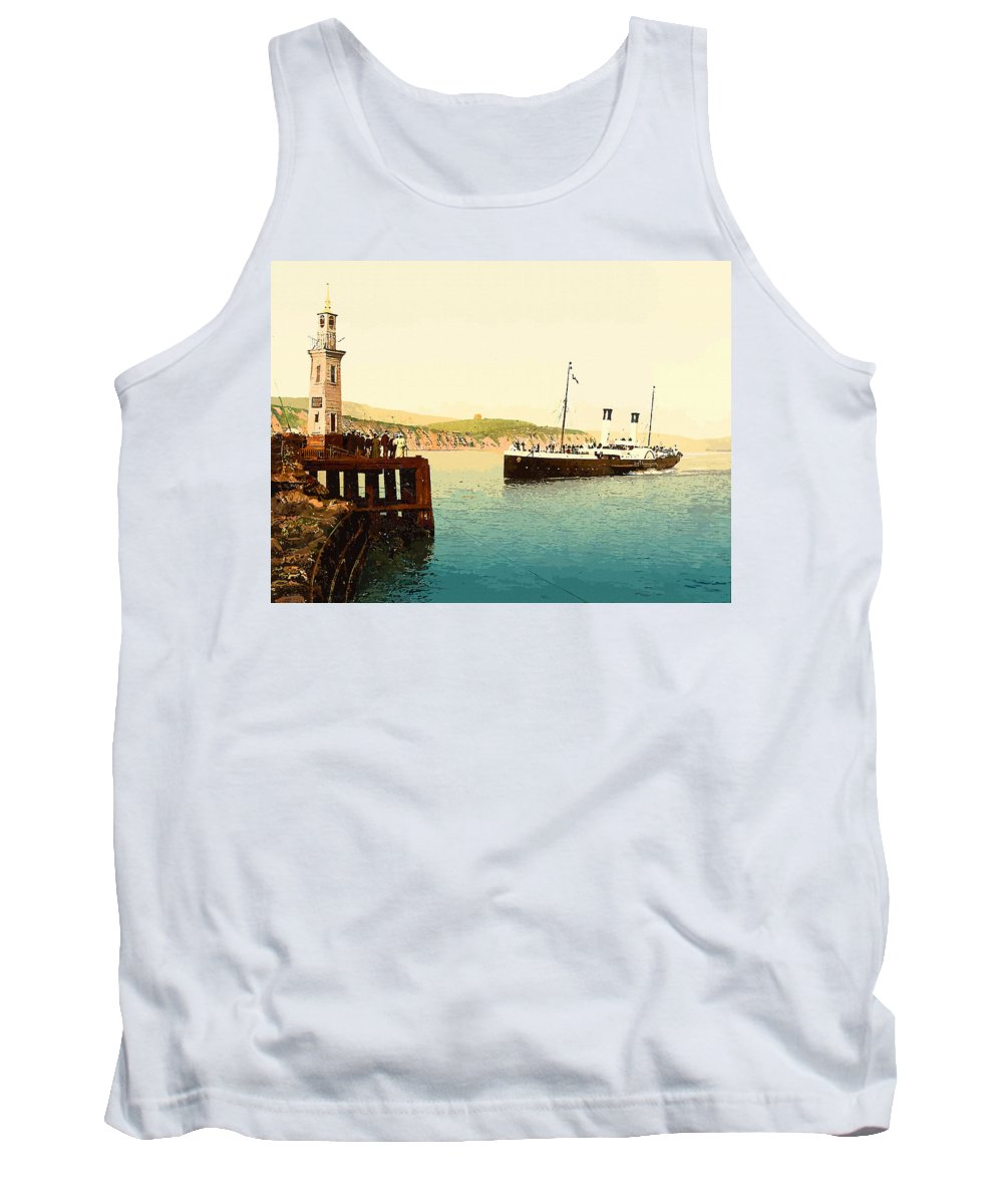 Retouched Tank Top featuring the digital art Arrival Of Boulogne Boat Folkestone - England by Don Kuing
