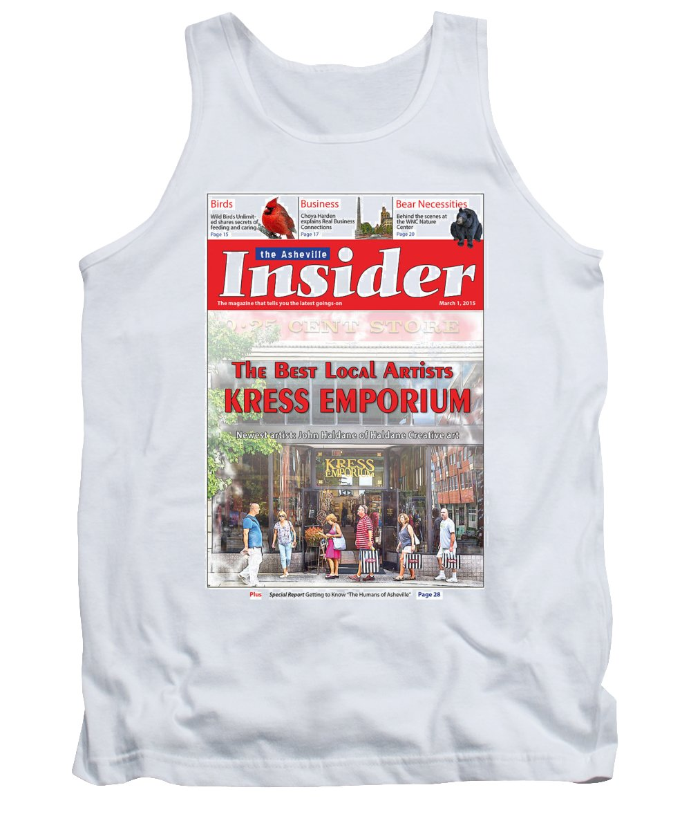 Magazine Tank Top featuring the digital art Asheville Insider Magazine by John Haldane