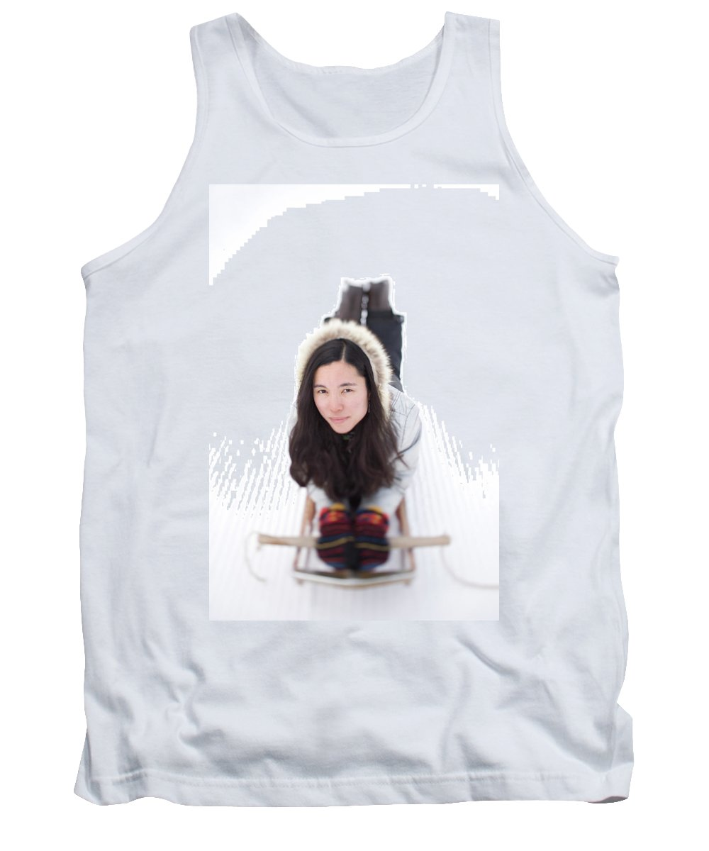 Asian Tank Top featuring the photograph Asian Woman Posing For A Portrait Lying by Woods Wheatcroft