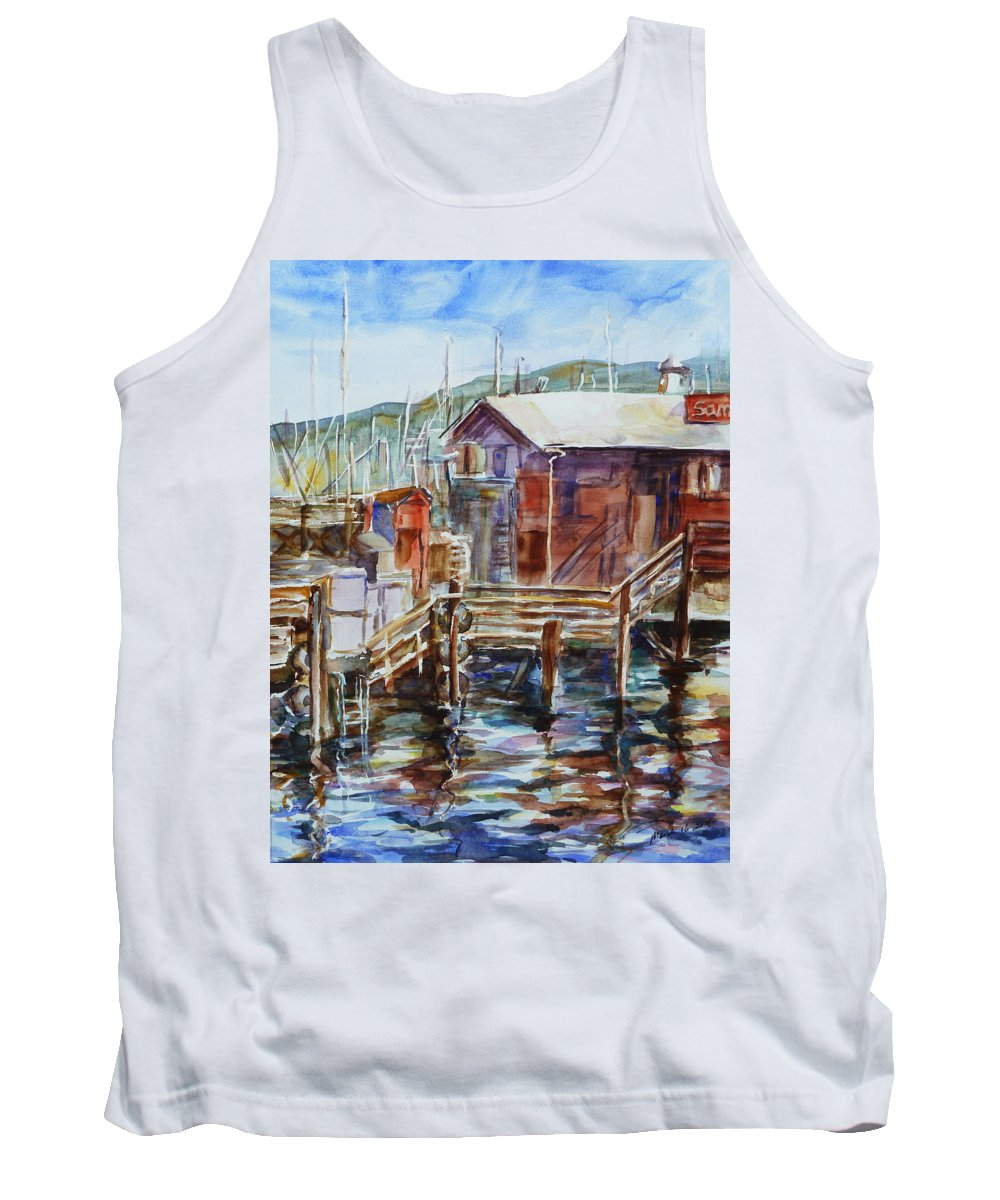 Landscape Tank Top featuring the painting At Monterey Wharf Ca by Xueling Zou