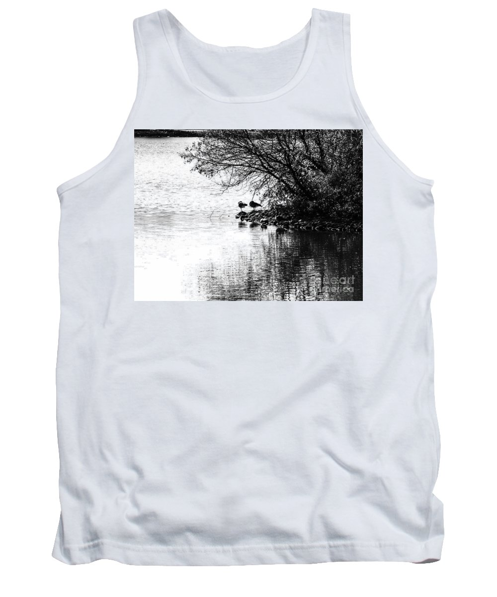 Black And White Tank Top featuring the photograph At The Lake-39 by David Fabian