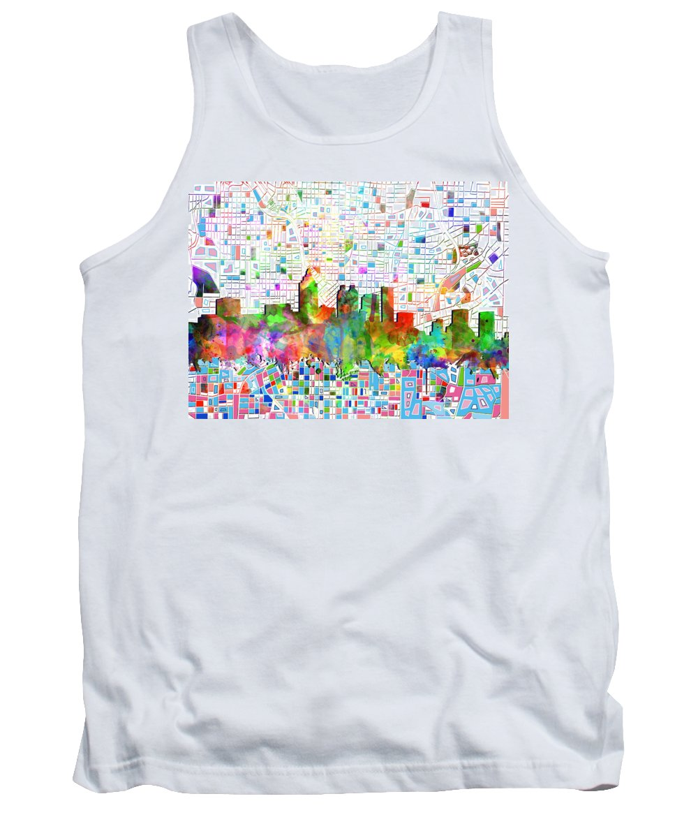 Atlanta Tank Top featuring the painting Atlanta Skyline Watercolor 3 by Bekim Art