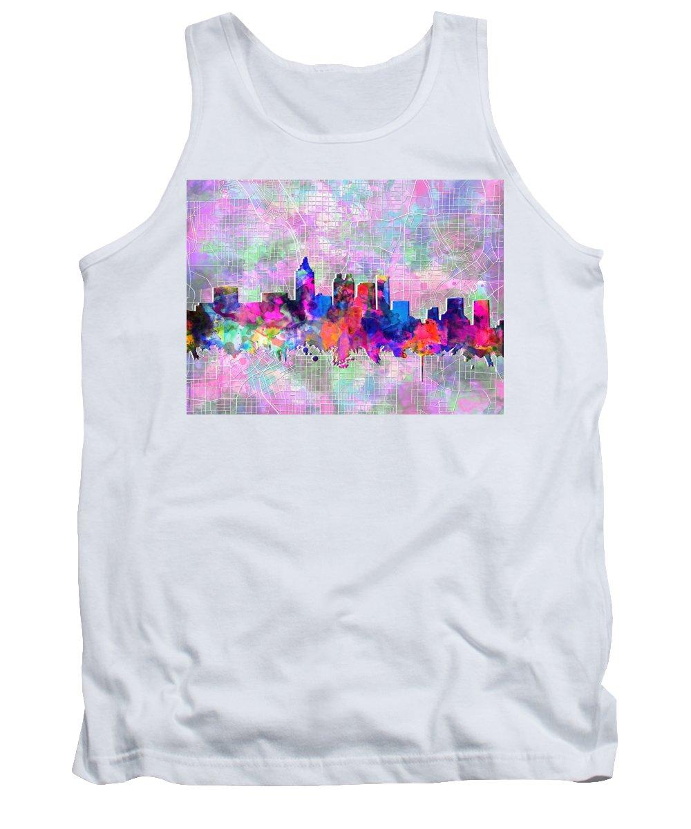 Atlanta Tank Top featuring the painting Atlanta Skyline Watercolor 4 by Bekim Art