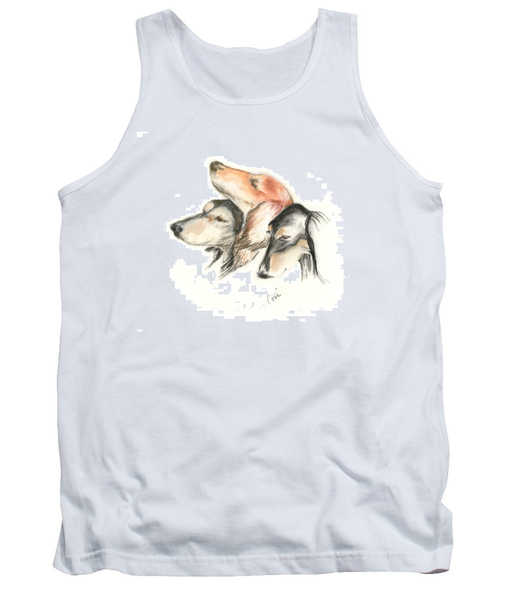 Dog Tank Top featuring the drawing Attitude by Cori Solomon