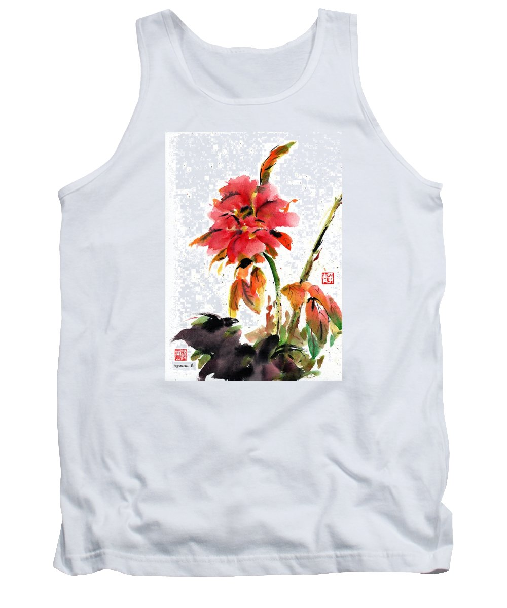 Chinese Brush Painting Tank Top featuring the painting Autumn Heirloom by Bill Searle