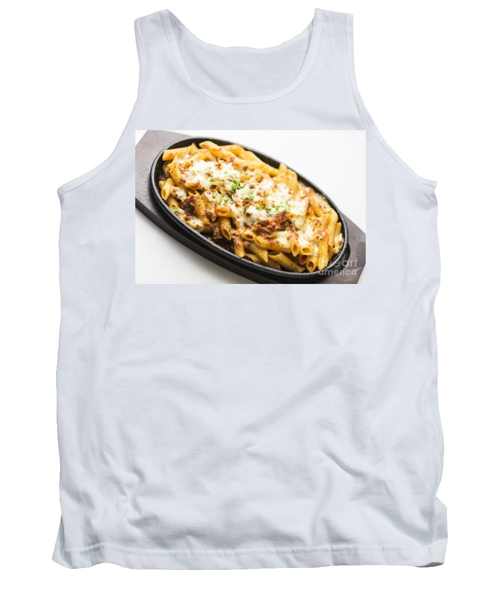 Bake Tank Top featuring the photograph Baked Pasta With Meat And Cheese by Jacek Malipan