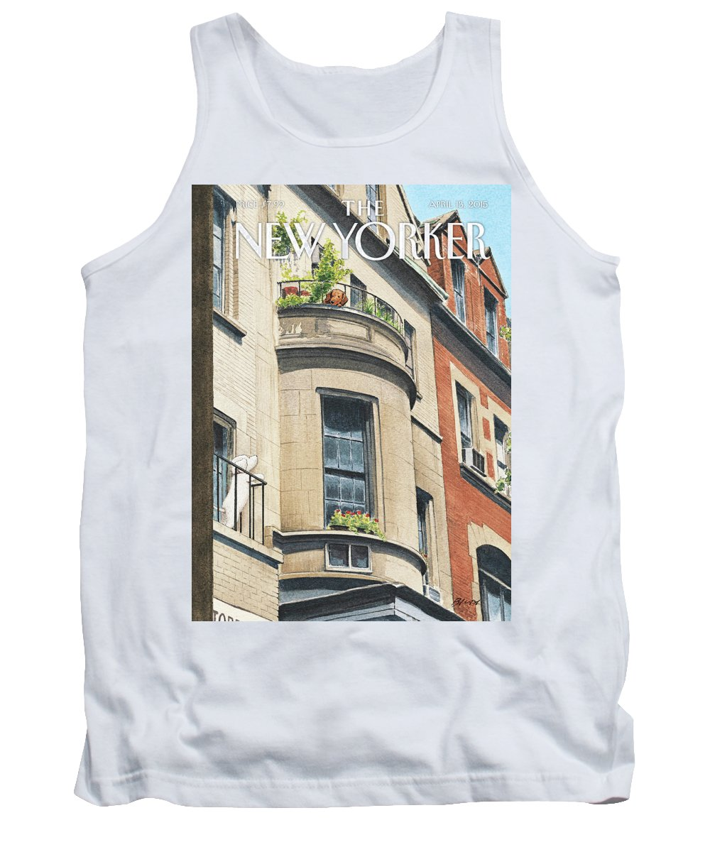 Dog Tank Top featuring the painting Balcony Scene by Harry Bliss