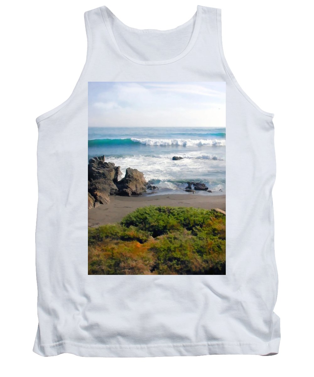 California Tank Top featuring the painting Bands Of Green Brown And Blue Of The Beach by Elaine Plesser