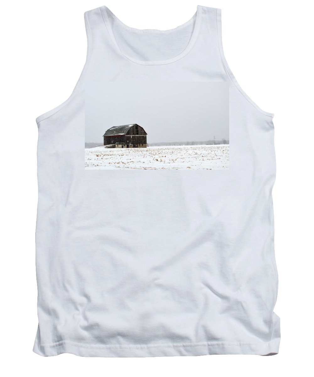 Winter Tank Top featuring the photograph Barn And Snow by Linda Kerkau