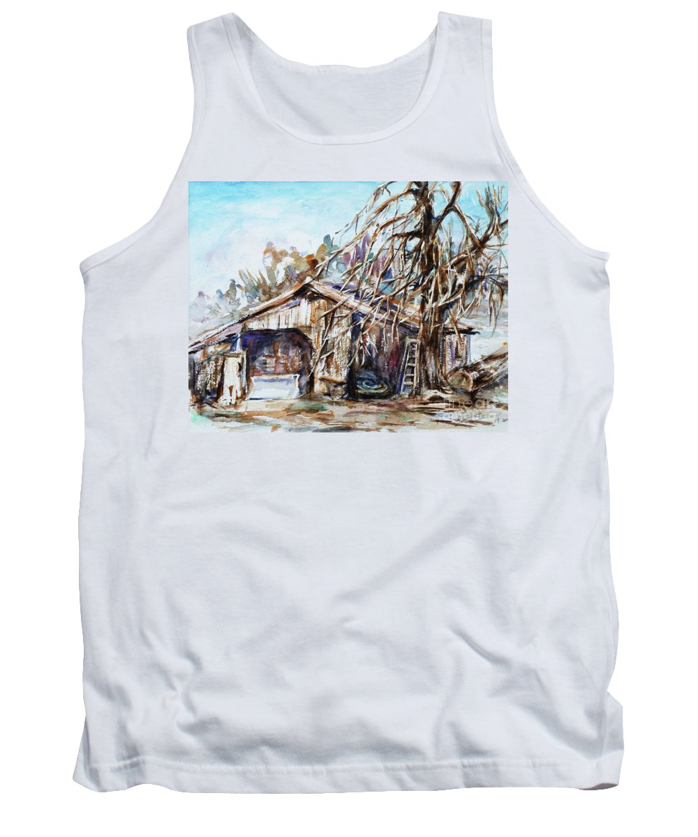 Barn Tank Top featuring the painting Barn By The Tree by Xueling Zou
