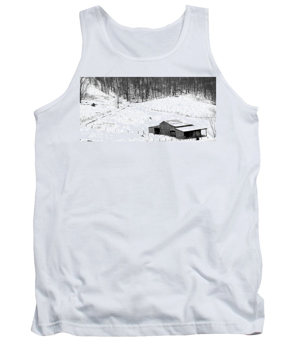 Craig County Farm Tank Top featuring the photograph Barn In Winter by Todd Hostetter