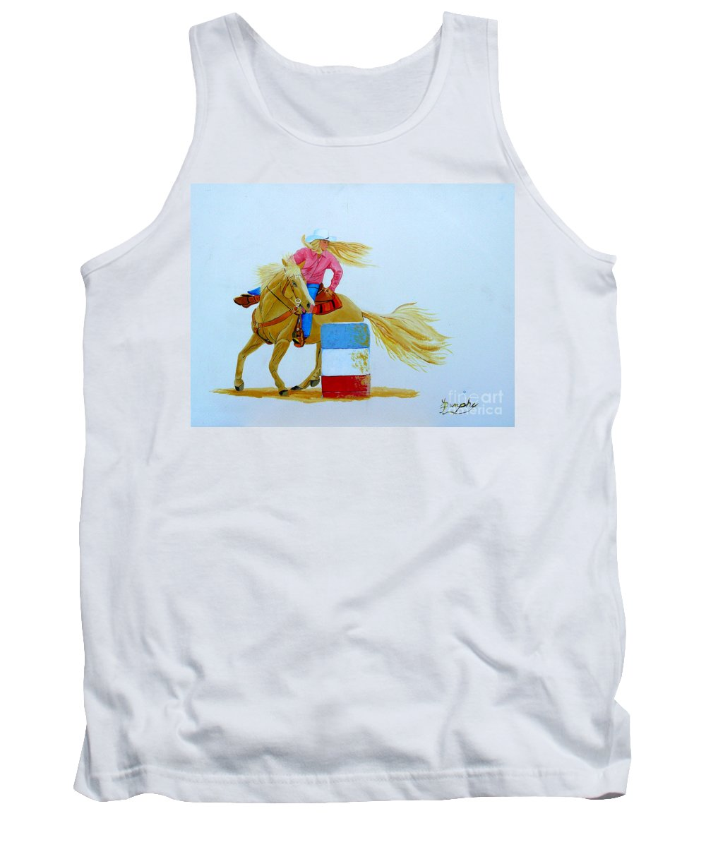 Rodeo Tank Top featuring the painting Barrel Racer by Anthony Dunphy