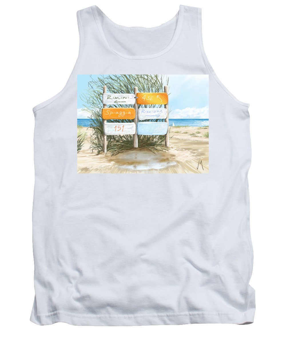 Beach Tank Top featuring the painting Beach 151 by Veronica Minozzi