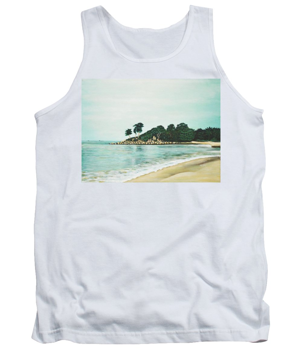 Beach Tank Top featuring the painting Beach by Usha Shantharam