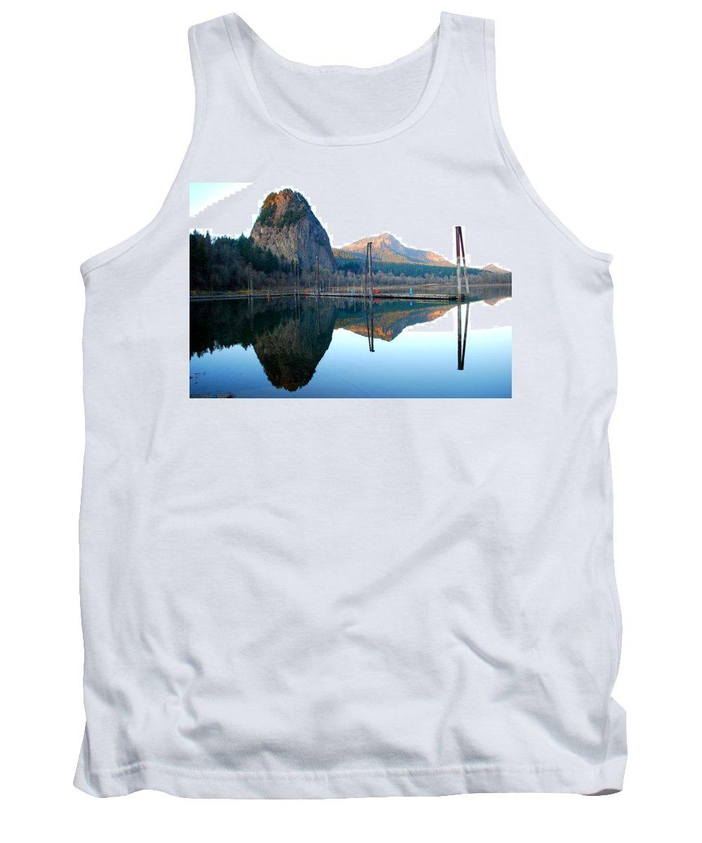 Tree Tank Top featuring the photograph Beacon Rock Reflecions by Kathy Sampson