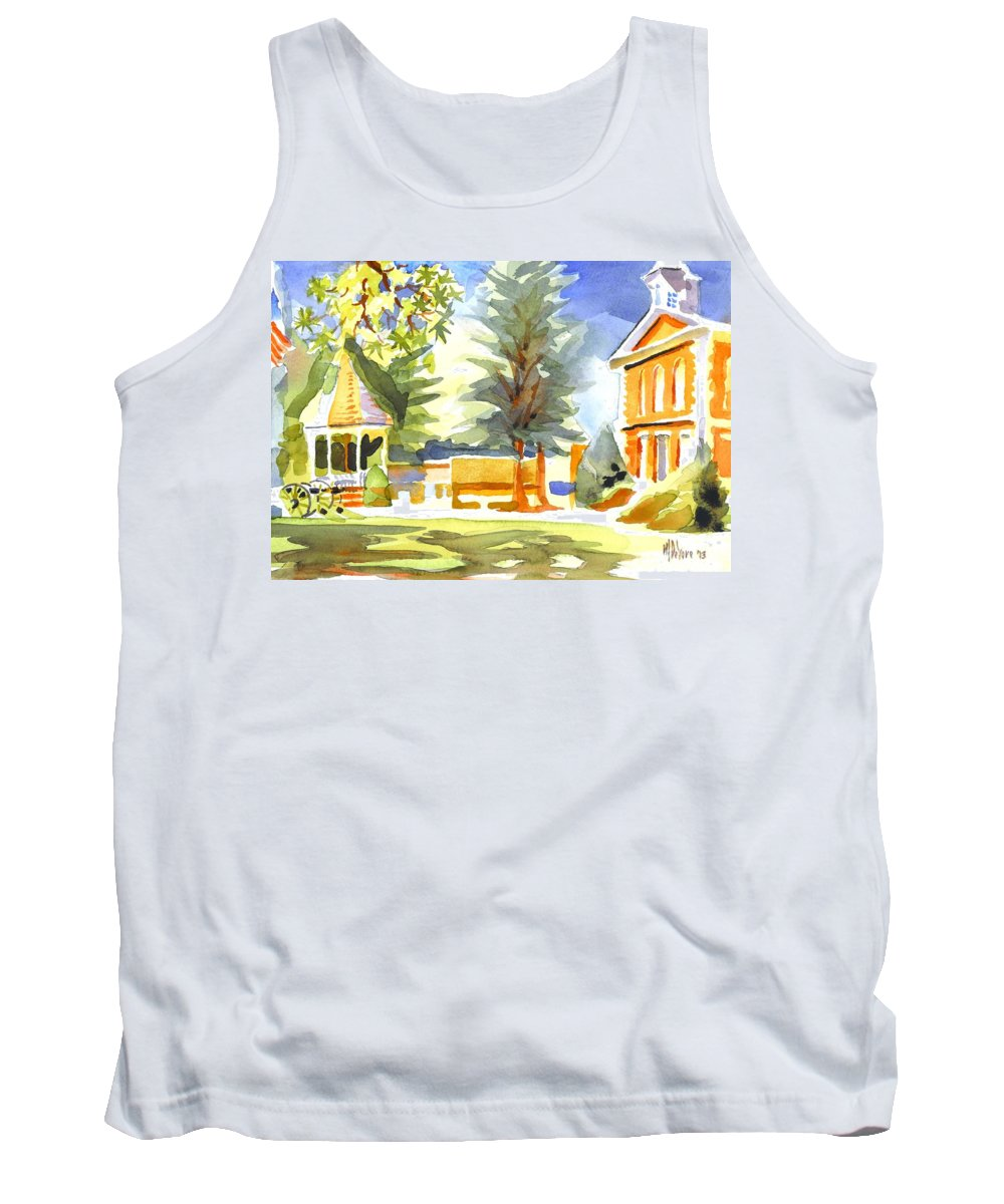 Beautiful Day On The Courthouse Square Tank Top featuring the painting Beautiful Day On The Courthouse Square by Kip DeVore