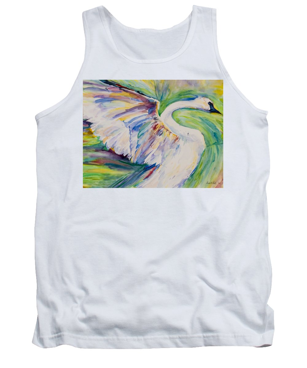Beauty And Grace Swan Tank Top featuring the painting Beauty And Grace Swan by Anna Porter