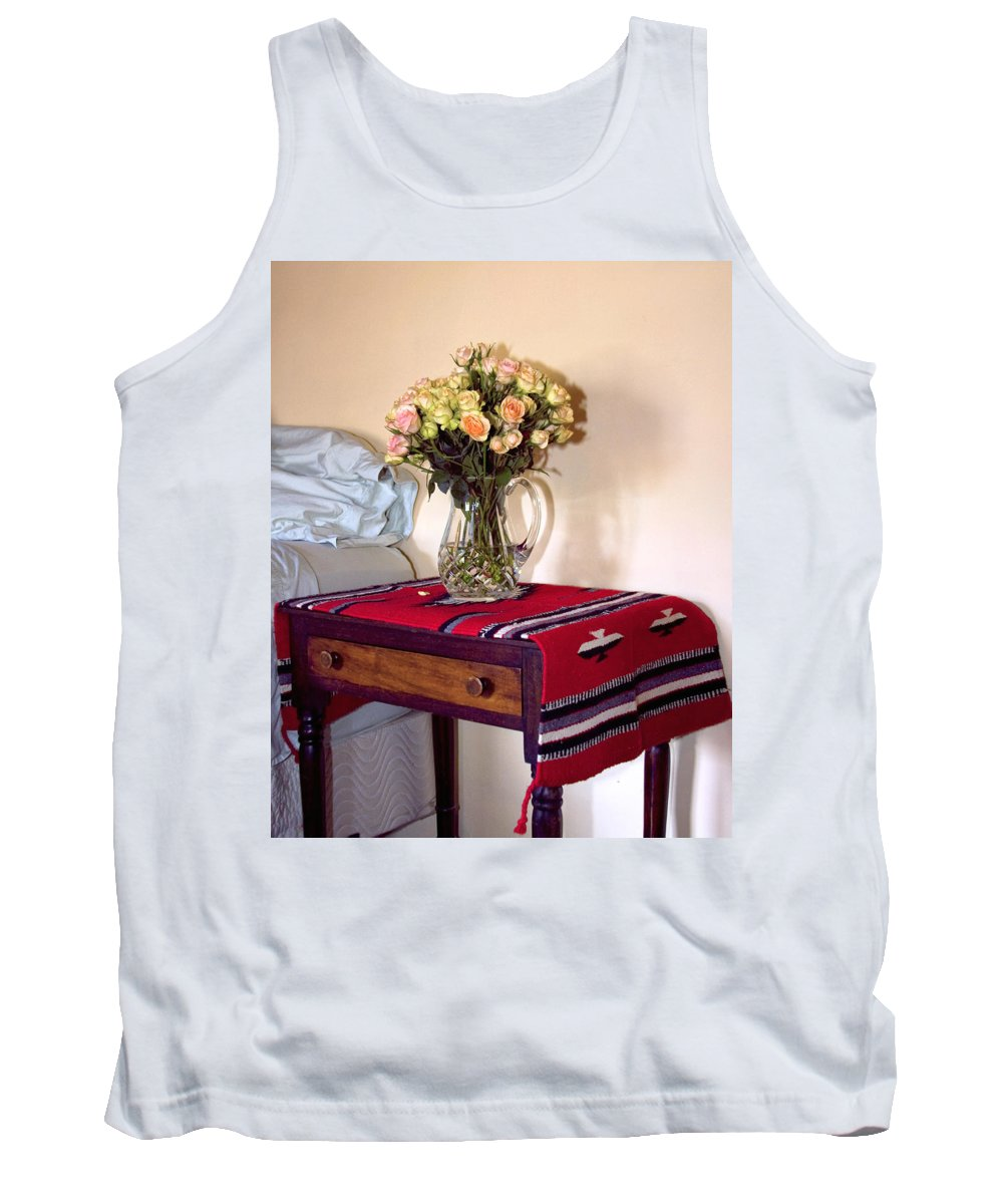 Still Life Tank Top featuring the photograph Bedside Desert Roses Palm Springs by William Dey