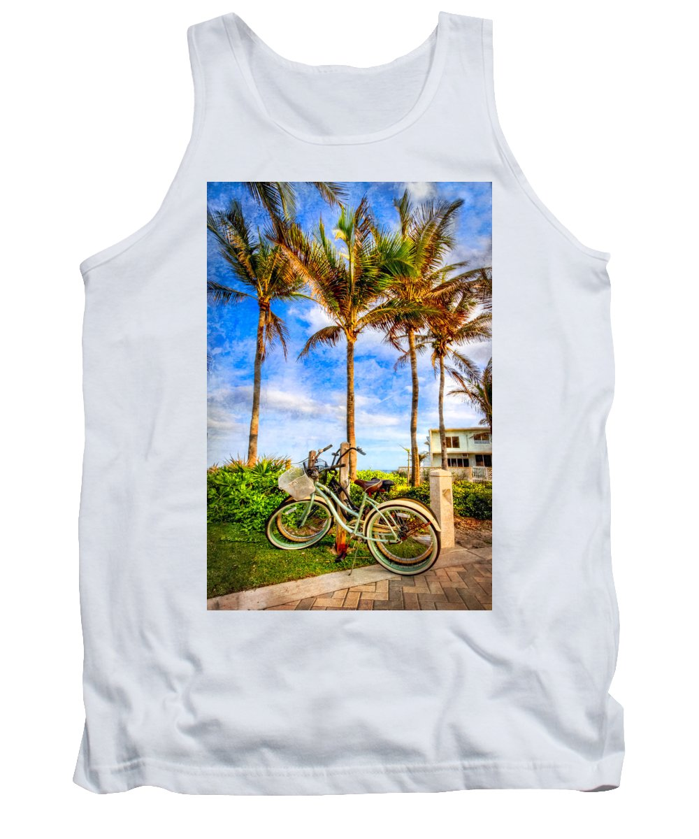Clouds Tank Top featuring the photograph Bicycles Under The Palms by Debra and Dave Vanderlaan