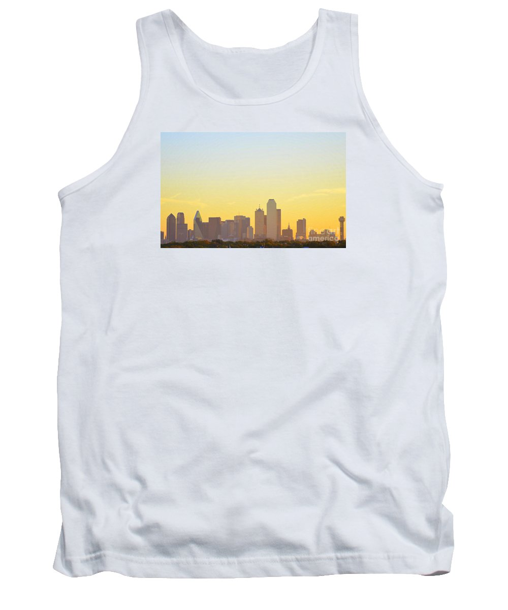 Cityscape Tank Top featuring the photograph Big-d At Sunrise Abstract by Diana Mary Sharpton