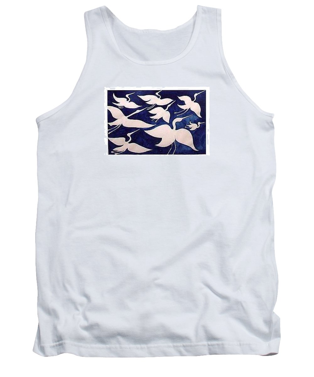 Egrets Tank Top featuring the painting Birds In Flight by Fred Jinkins