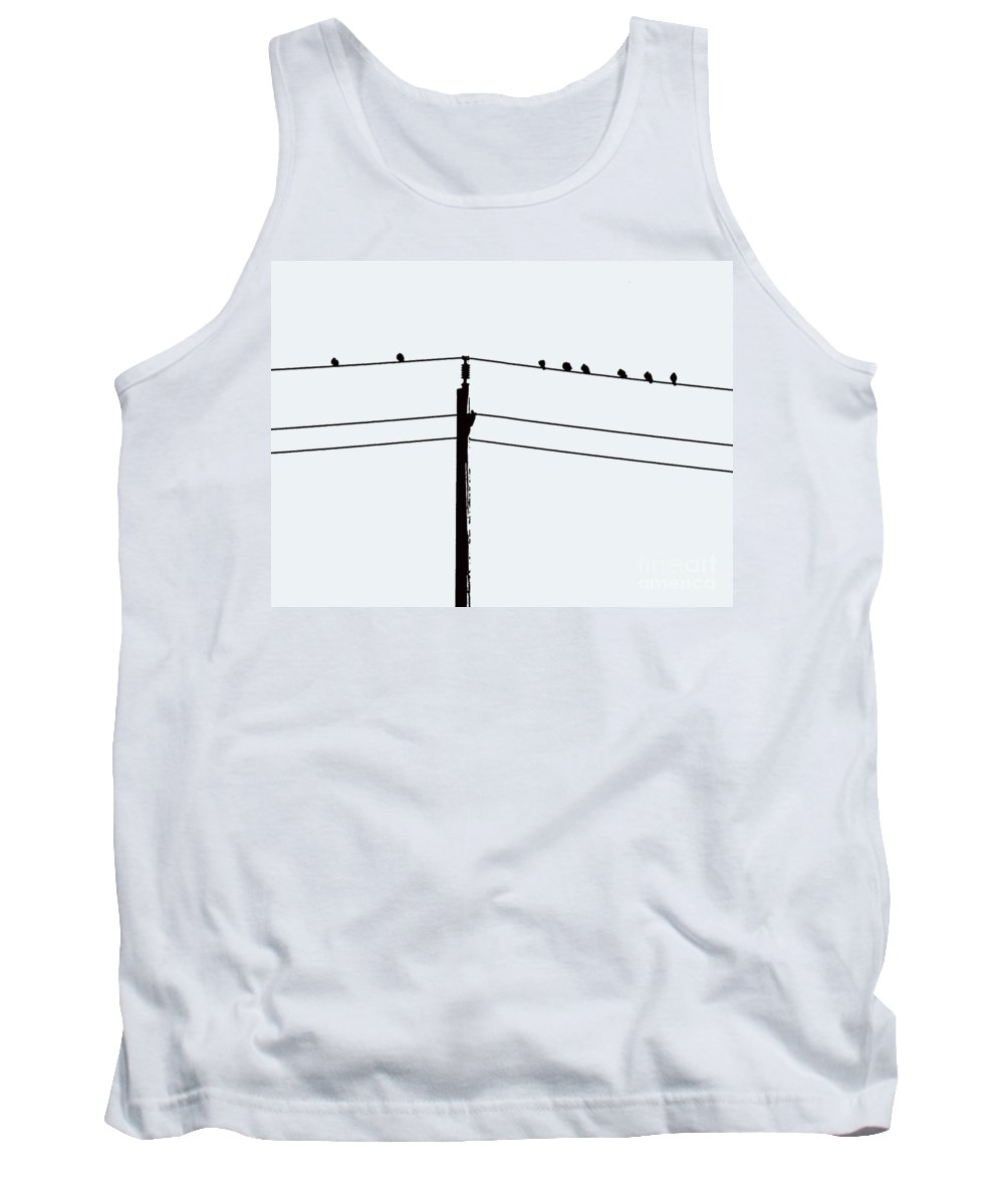 Birds Tank Top featuring the photograph Birds On A Wire by Nina Silver