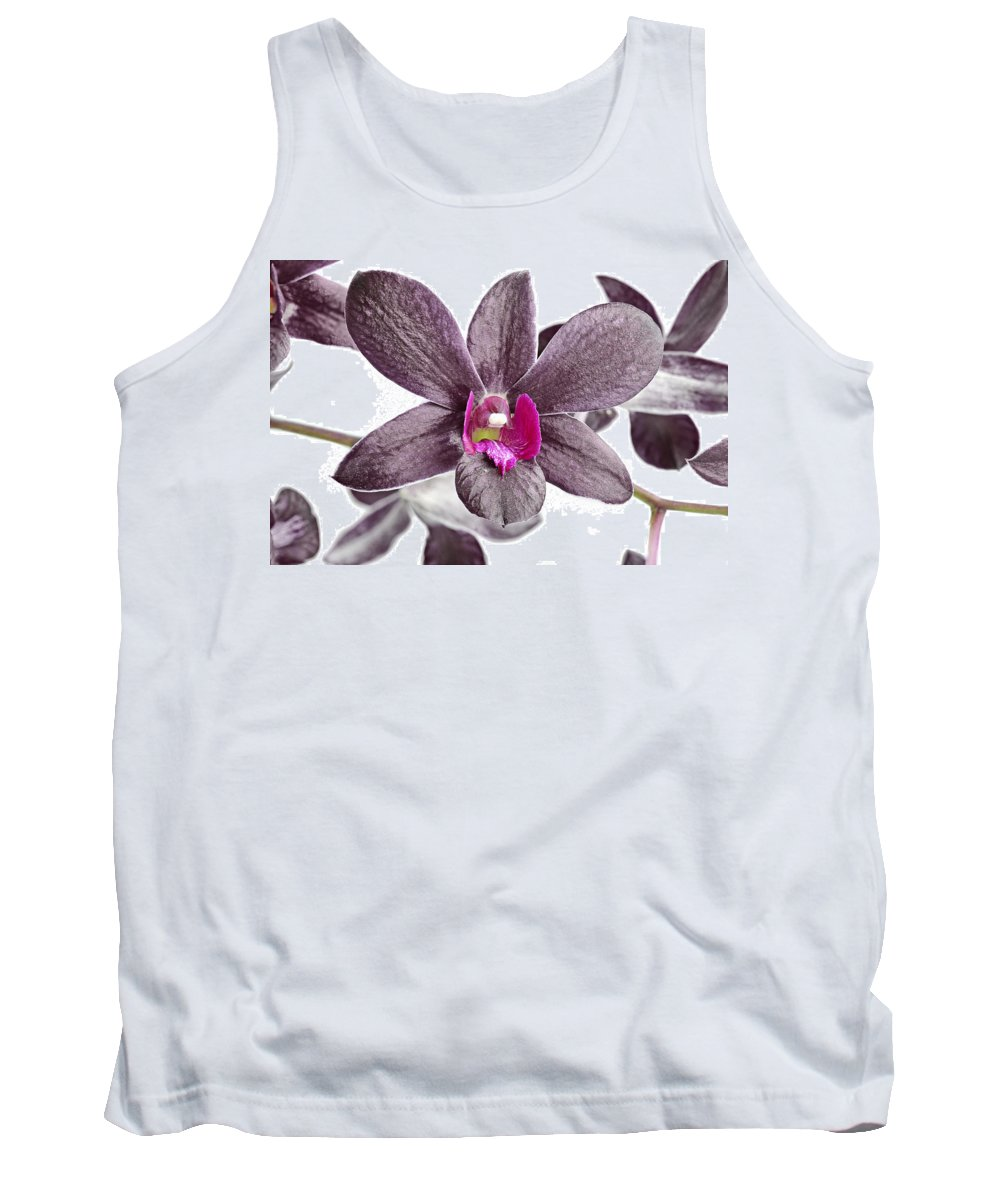 Background Tank Top featuring the photograph Black And Purple Orchid by Paul Fell