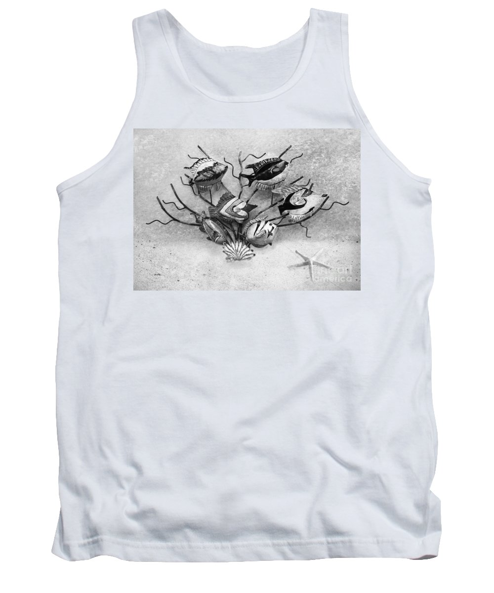 Tropical Fish Tank Top featuring the photograph Black And White Fish 1 by Betty LaRue