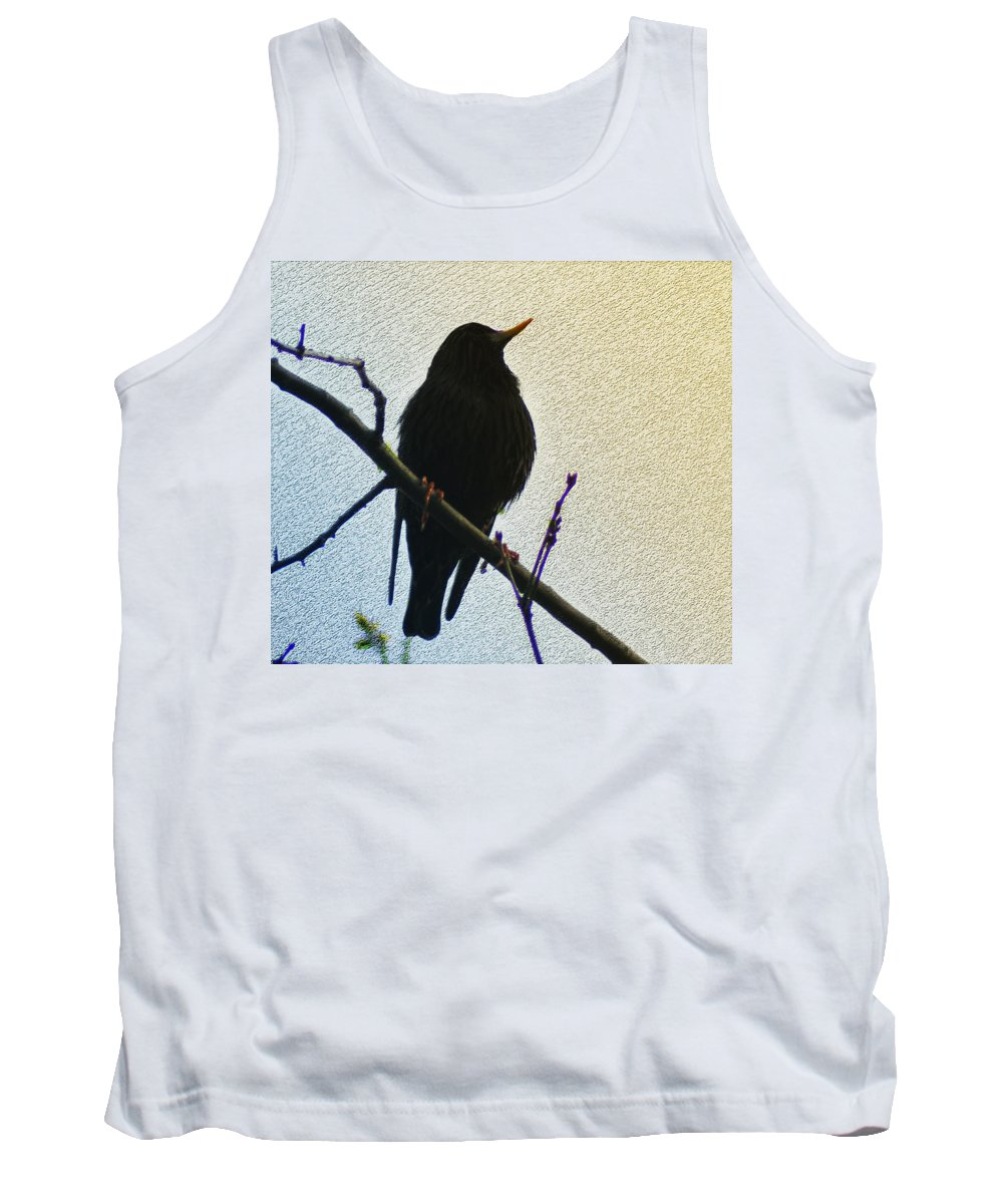 Black Tank Top featuring the photograph Black Bird Perch by Bill Cannon