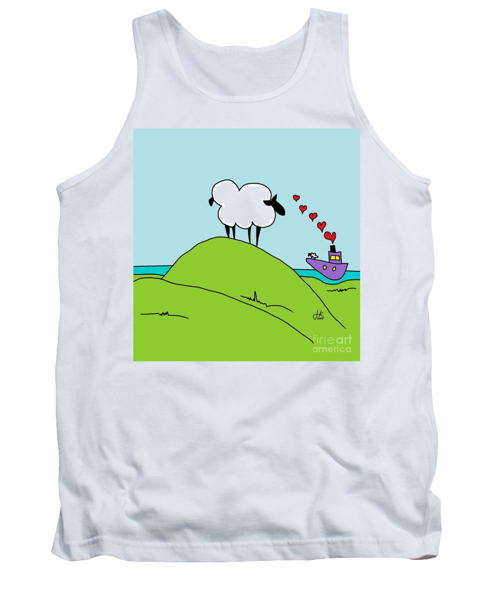 Black Faced Sheep 20150206 Tank Top featuring the mixed media Black Faced Sheep 20150206 by Julie Knapp
