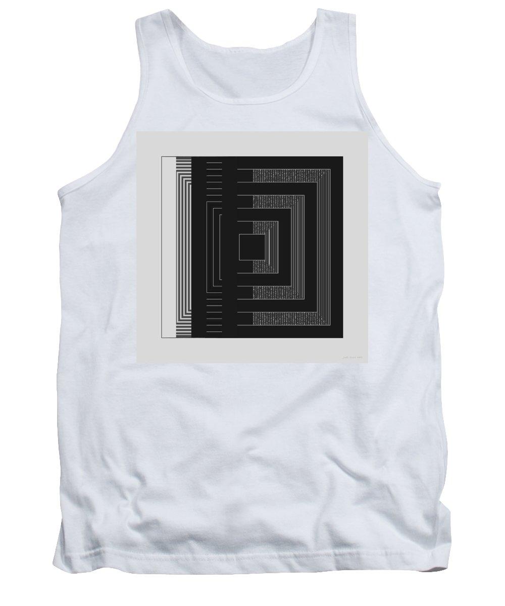 Geometric Tank Top featuring the digital art Black White Gray Square Geometric by Judi Suni Hall