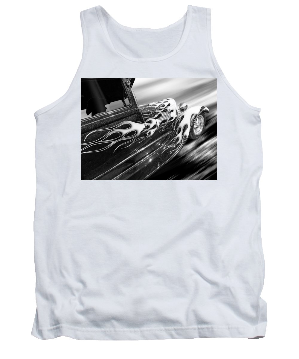 Rod Tank Top featuring the photograph Blazing A Trail - Ford Model A 1929 In Black And White by Gill Billington
