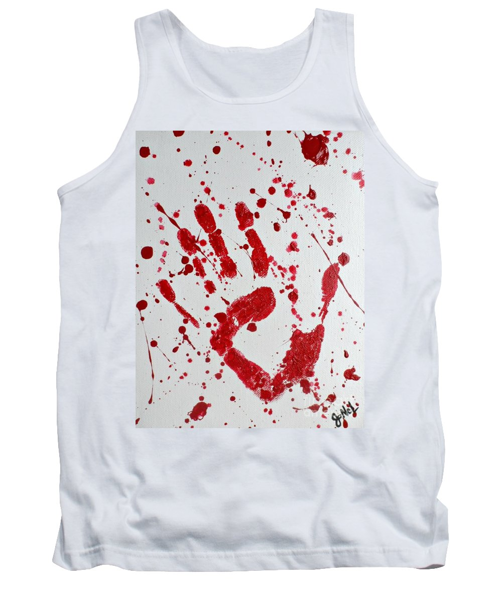 Halloween Tank Top featuring the painting Bloody Print by JoNeL Art
