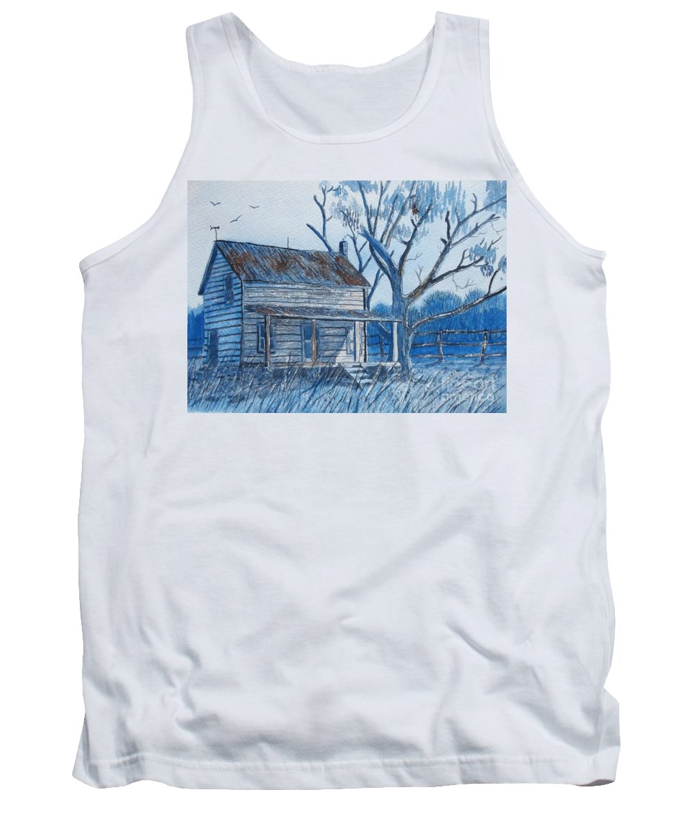 Old House Tank Top featuring the painting Blue Landscape by Don Hand