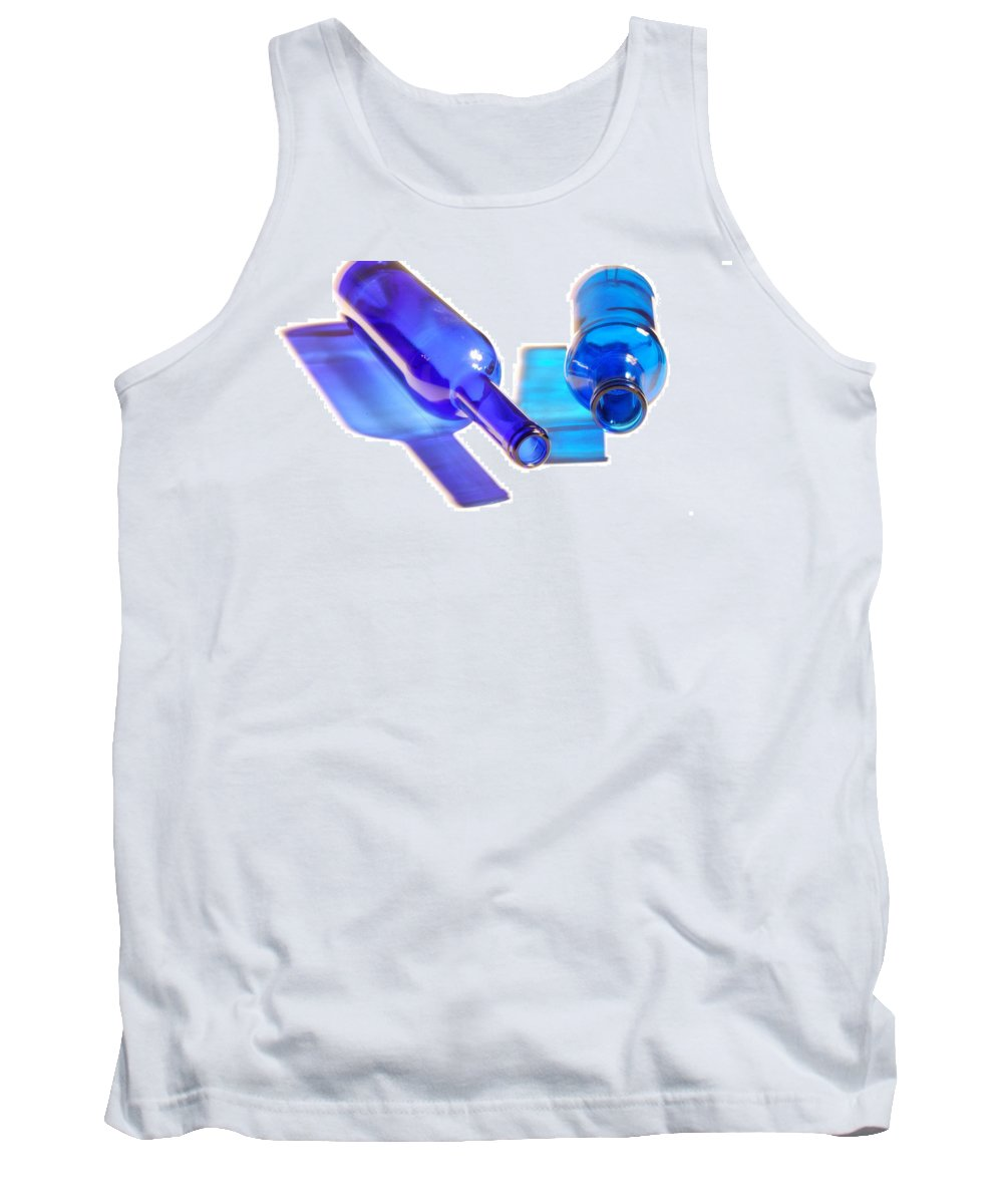 Bottles Tank Top featuring the photograph Blue Bottles by Gina Dsgn