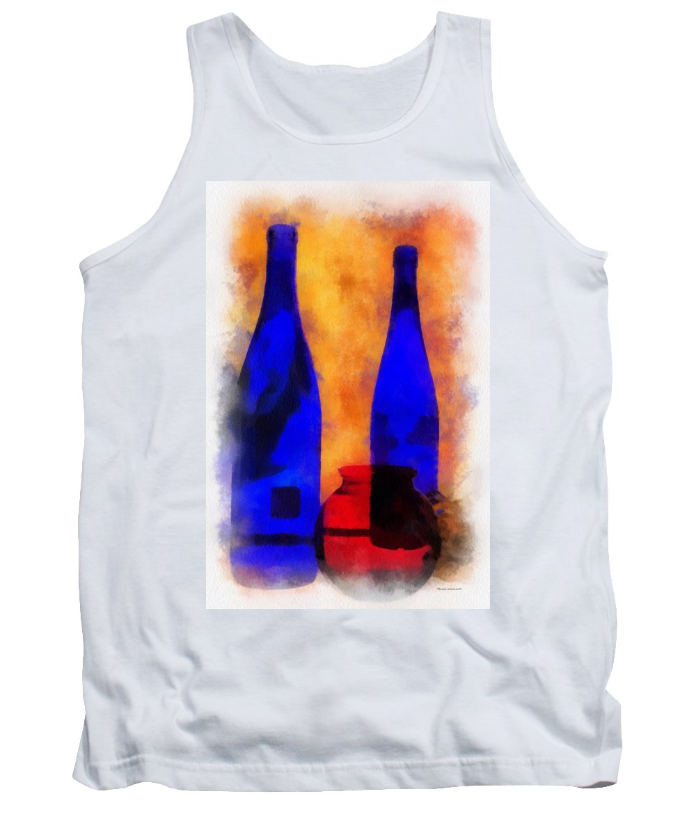 Bottle Tank Top featuring the photograph Blue Bottles Photo Art by Thomas Woolworth