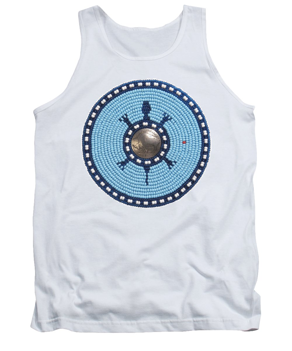 Beadwork Tank Top featuring the mixed media Blue Buffalo Turtle by Douglas K Limon