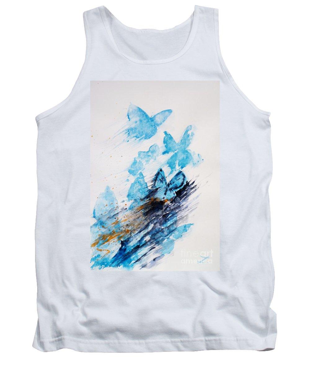 Butterflies Tank Top featuring the painting Blue Butterflies by Zaira Dzhaubaeva