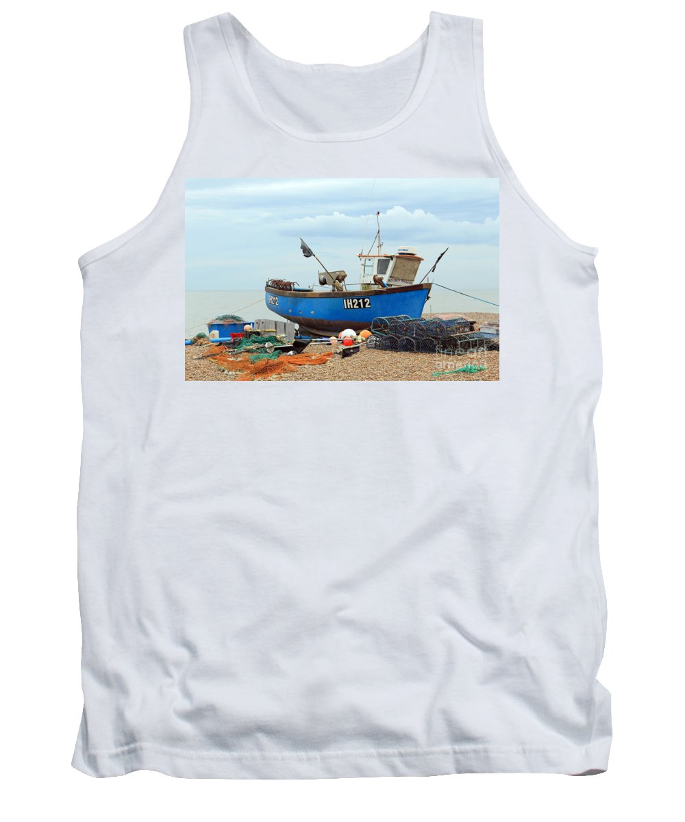 Blue Fishing Boat Tank Top featuring the photograph Blue Fishing Boat by Julia Gavin