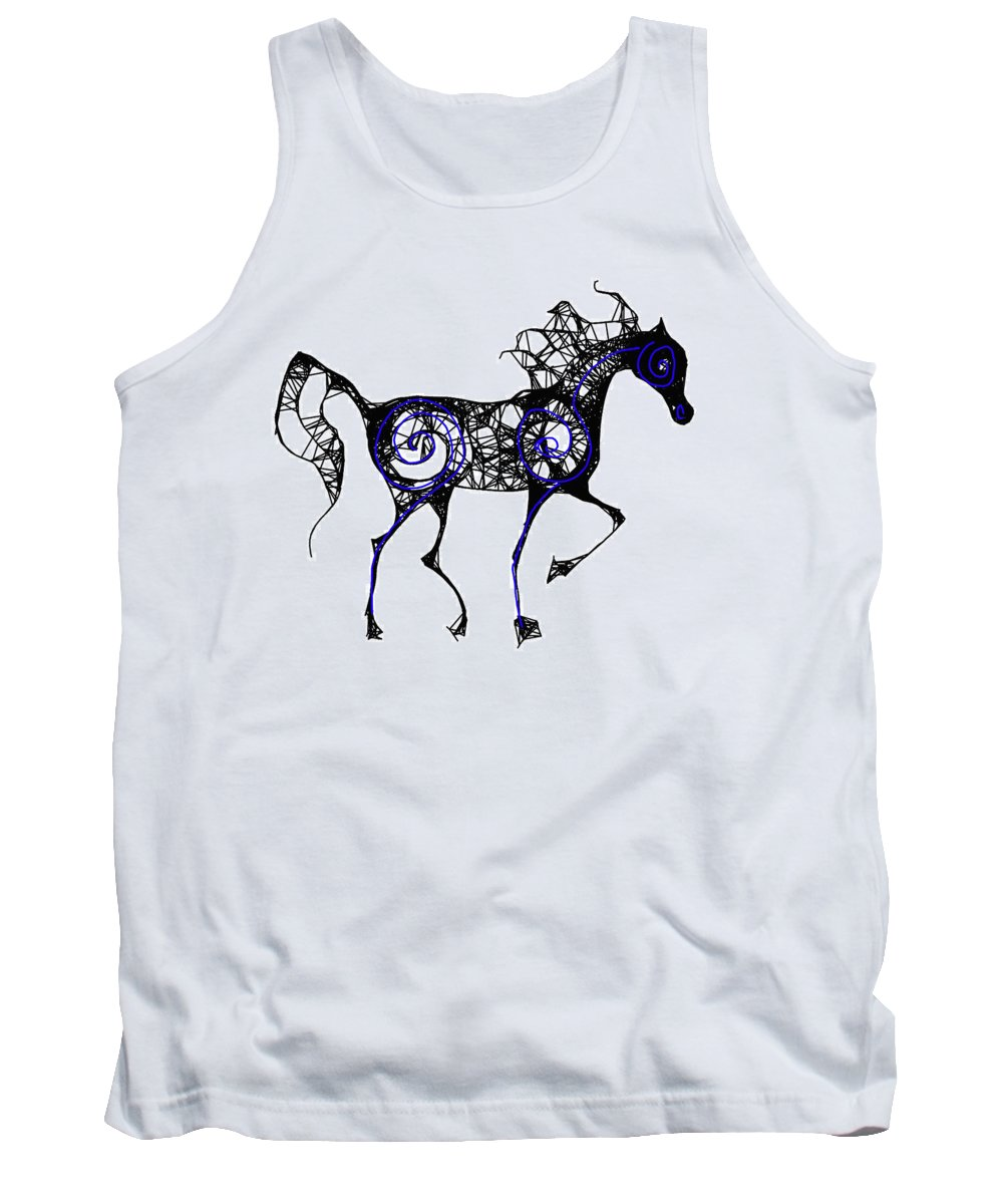 Horse Tank Top featuring the digital art Blue Flame by Ellsbeth Page