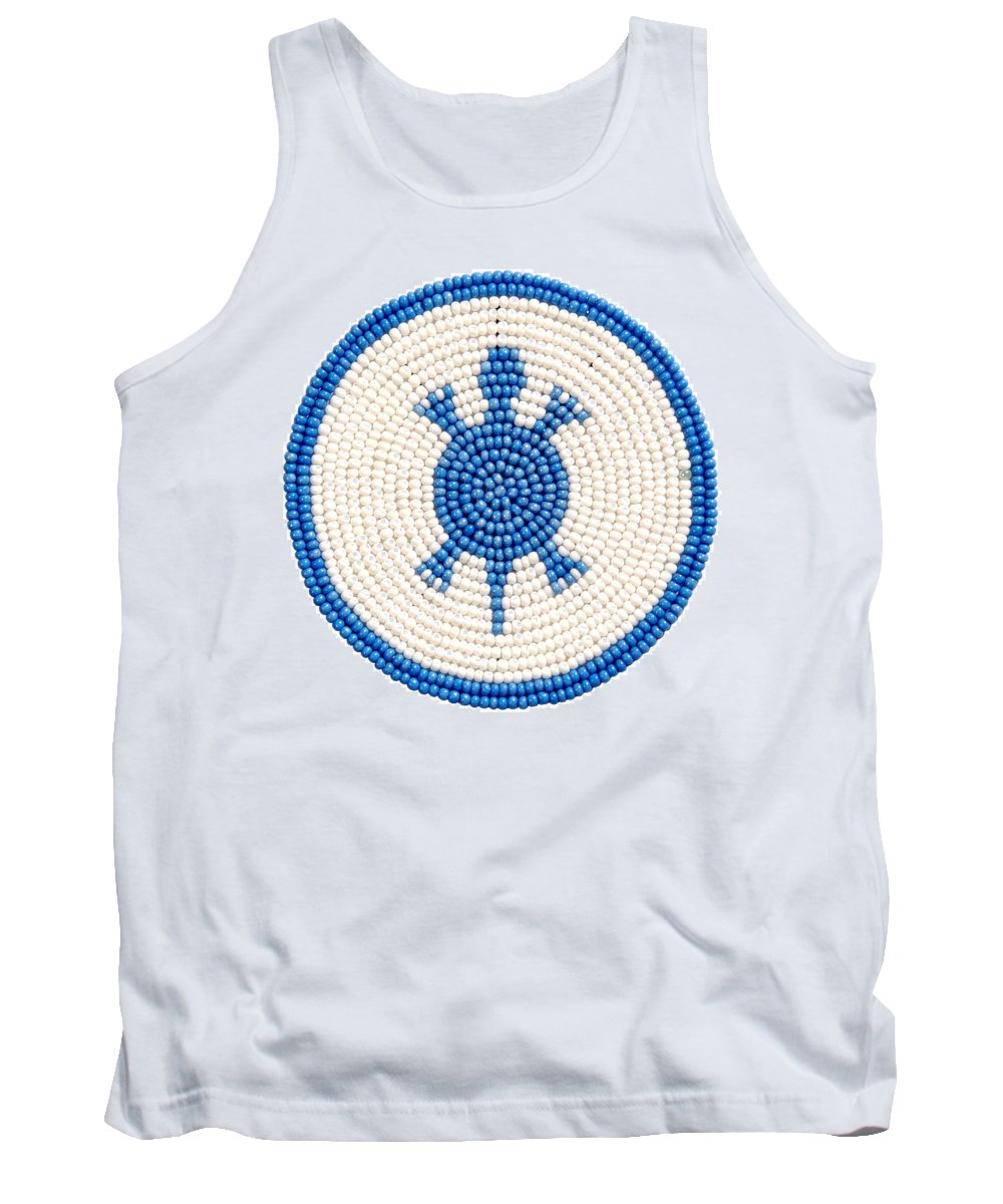 Turtle Tank Top featuring the mixed media Blue Turtle by Douglas K Limon