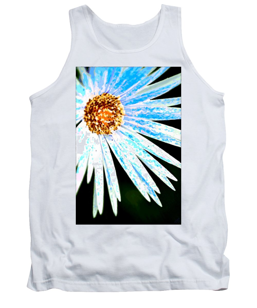 Flower Tank Top featuring the painting Blue Vexel Flower by Bruce Nutting