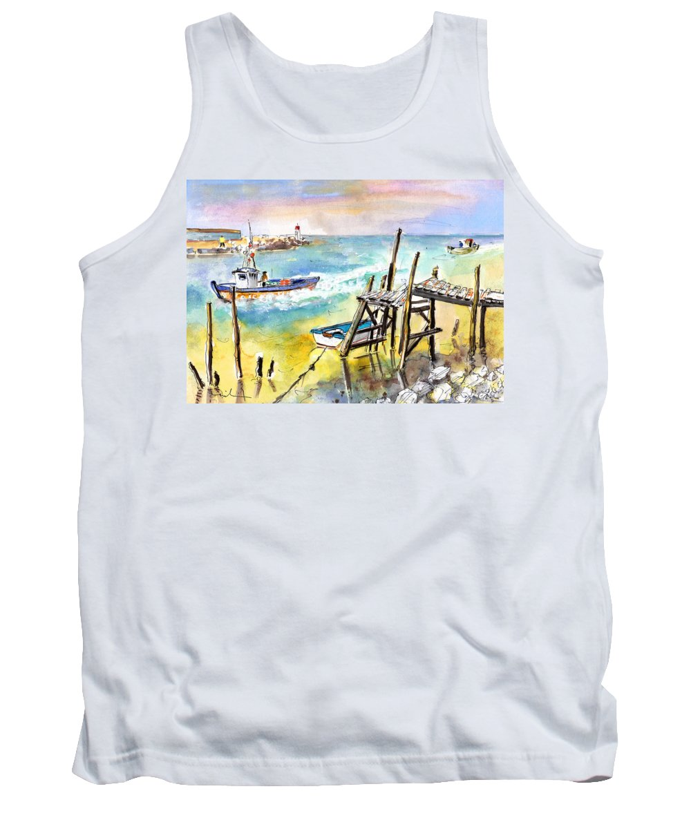 Travel Tank Top featuring the painting Boats And Boardwalks By Brittany 01 by Miki De Goodaboom