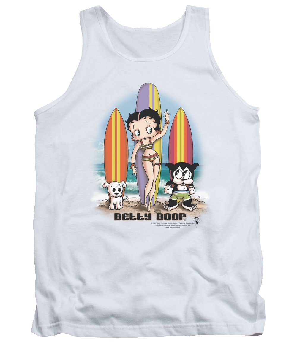 Betty Boop Tank Top featuring the digital art Boop - Surfers by Brand A