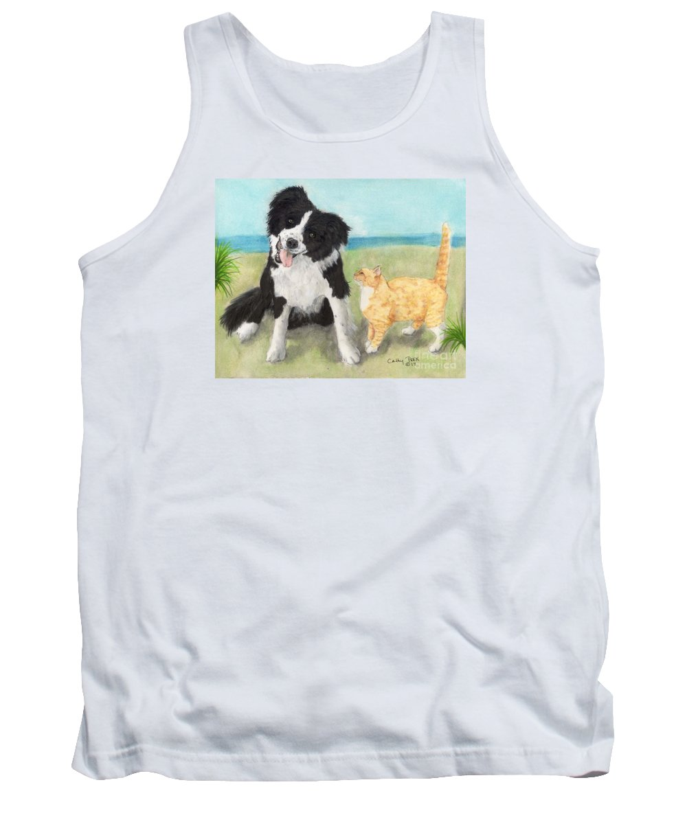 Border Tank Top featuring the painting Border Collie Dog Orange Tabby Cat Art by Cathy Peek