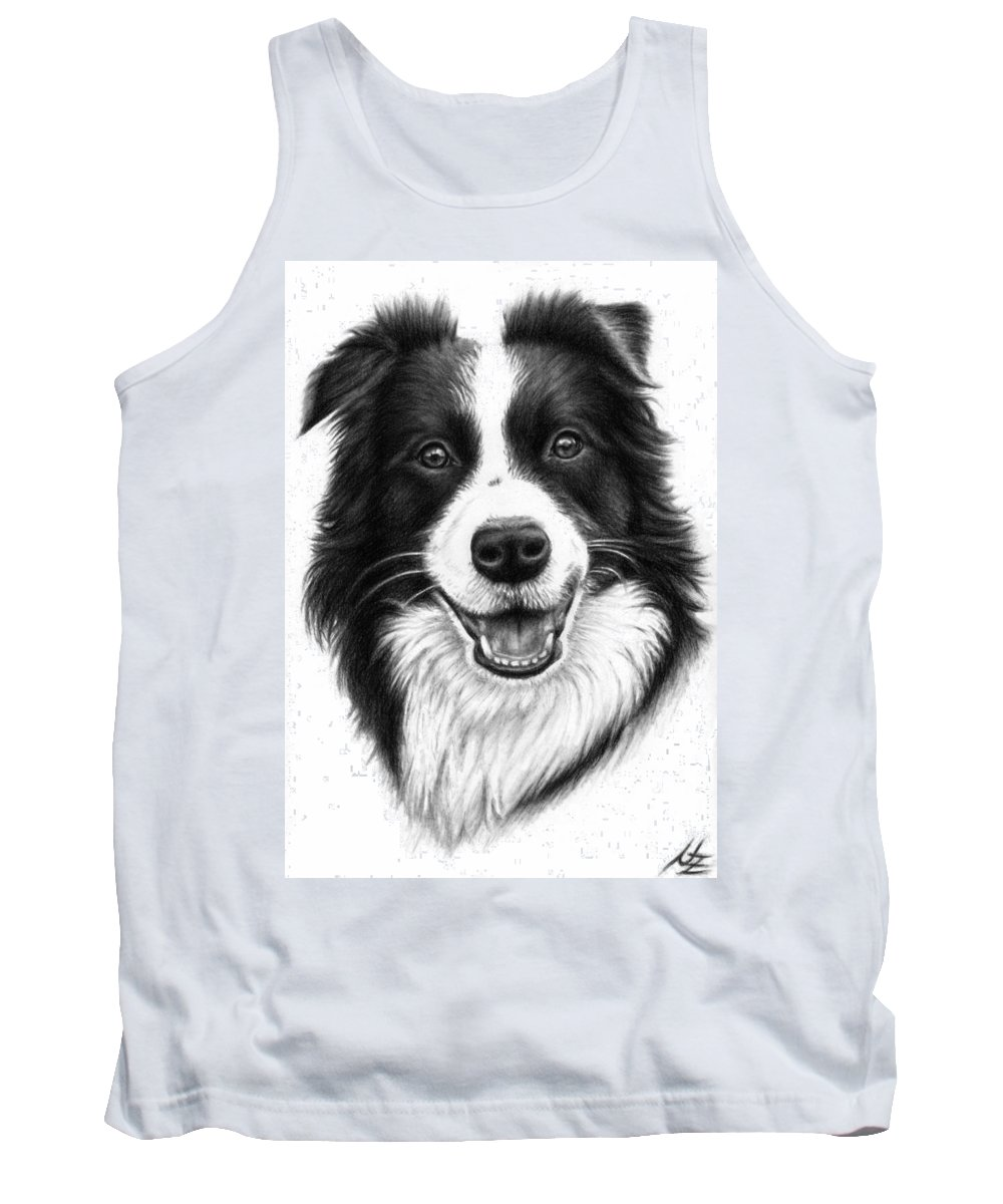 Dog Tank Top featuring the drawing Border Collie by Nicole Zeug
