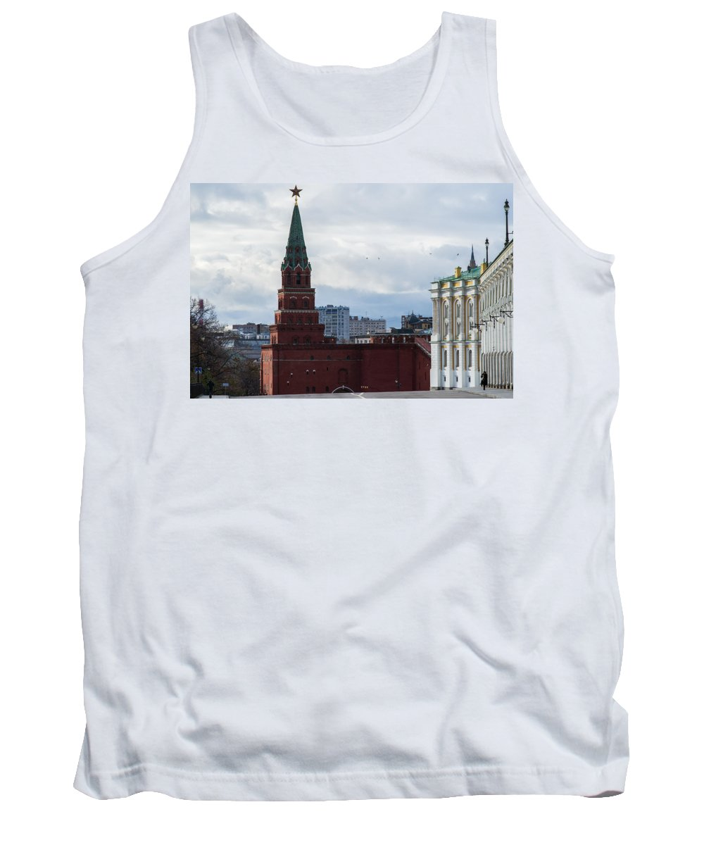 Architecture Tank Top featuring the photograph Borovitskaya Tower Of Moscow Kremlin by Alexander Senin