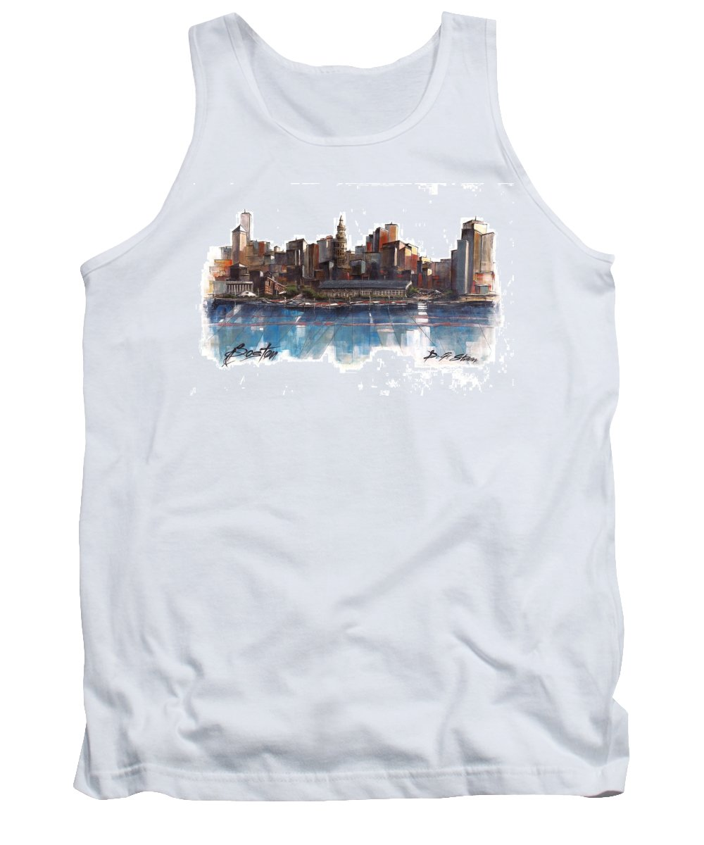 Fineartamerica.com Tank Top featuring the painting Boston Skyline Number 3 by Diane Strain