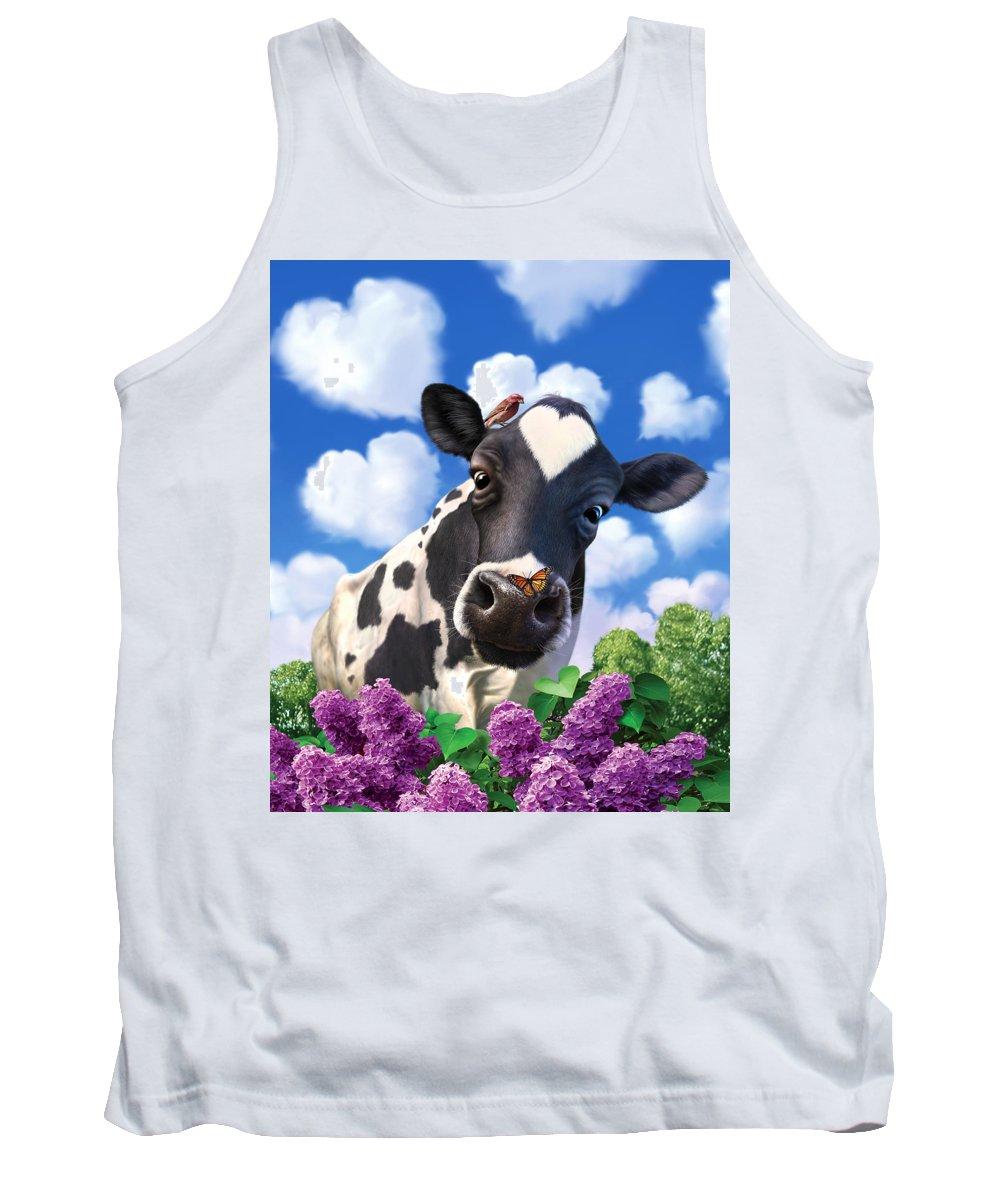 Cow Tank Top featuring the digital art Bovinity by Jerry LoFaro